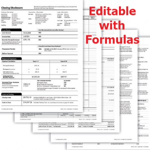 CD Closing Disclosure TRID Form 5 pages with Formulas