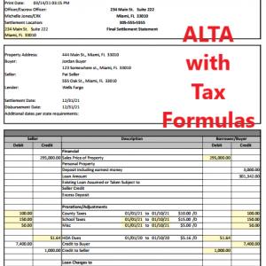 Alta Settlement Statement Sheet page 1
